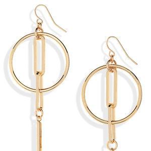 Halogen Linked Hoop Linear Earrings